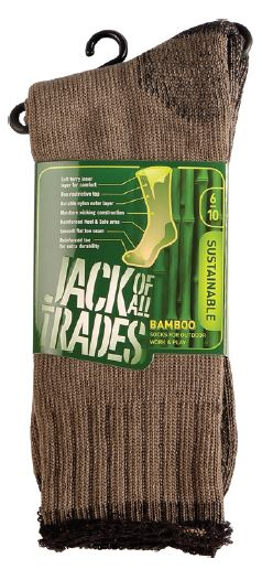 Taupe-black Contrast 6-10 Bamboo-nylon Outdoor Sock Full Terry Reinforced
