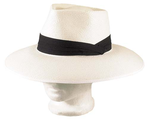 White Panama Straw Hat Green Under Brim