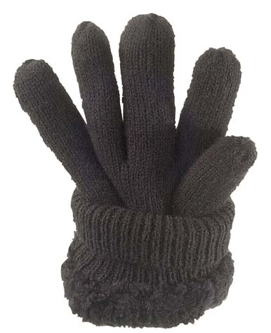 Knitted Glove Fleecy Lined Black