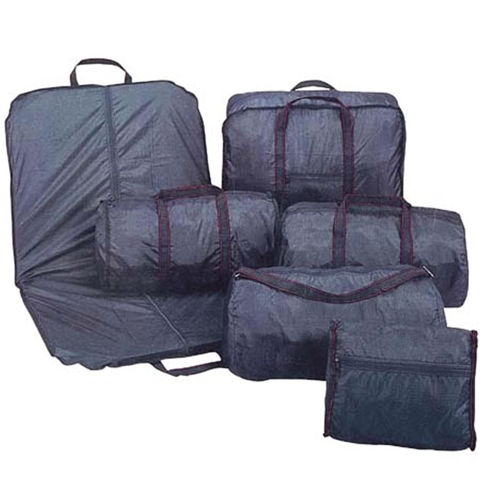 6 pc Nylon Designer Luggage Bag Set Black
