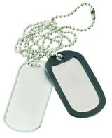 Dog Tag 2 pcs with chain+silencer Silver
