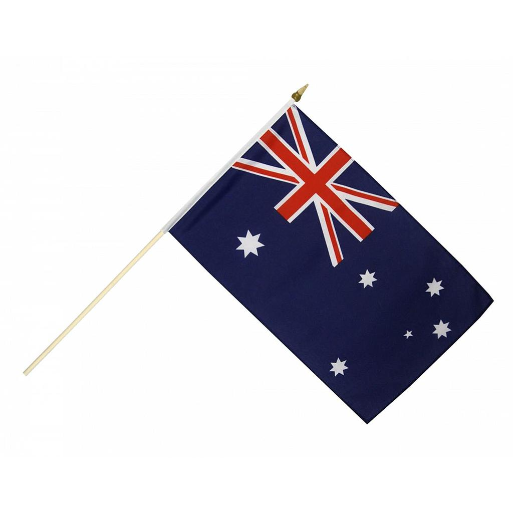 "Australia Hand Flag Waver Wood Stick 15x23cm 6""x9"""
