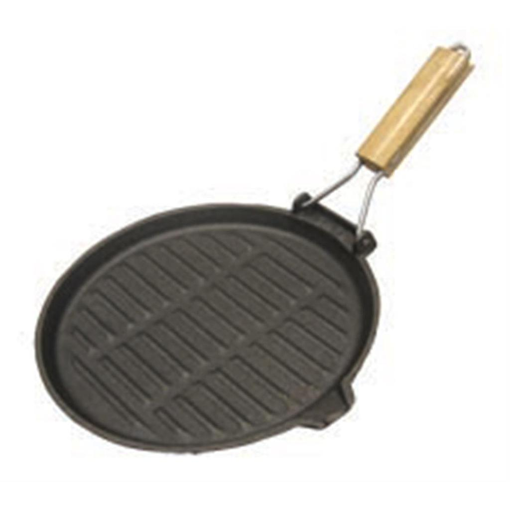 "10.5"" Round Cast Iron Grillpan Wood Folding Handle"