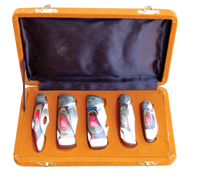 Knife Set 5 pce In Velvet Covered Box