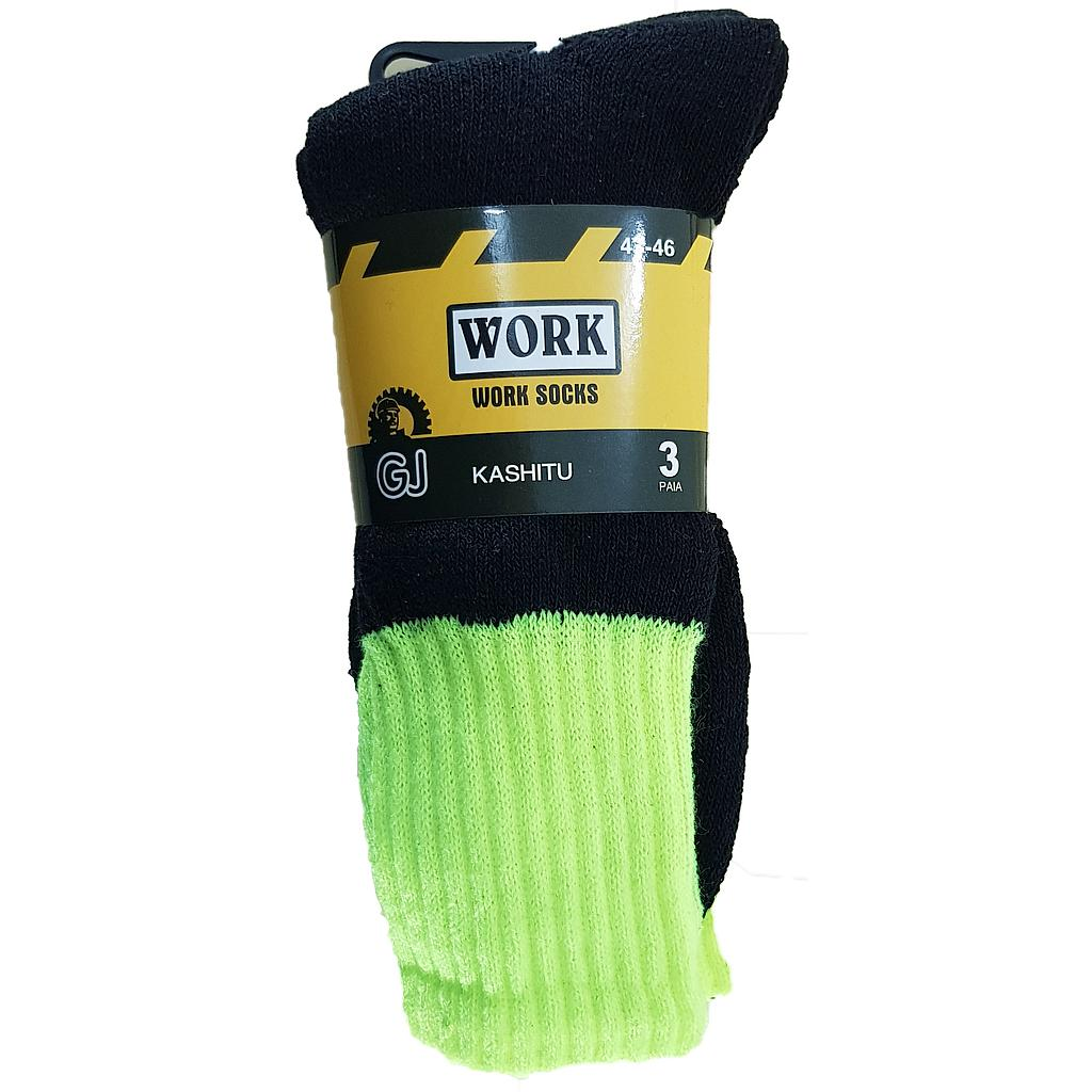 Work Sock 3 pairs 71% Cotton Flouro Green Black Sole