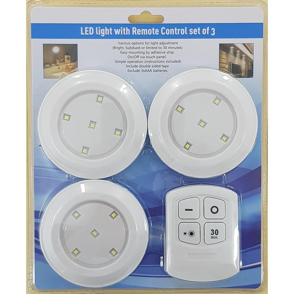 3 LED Light with Remote Control 3 pack