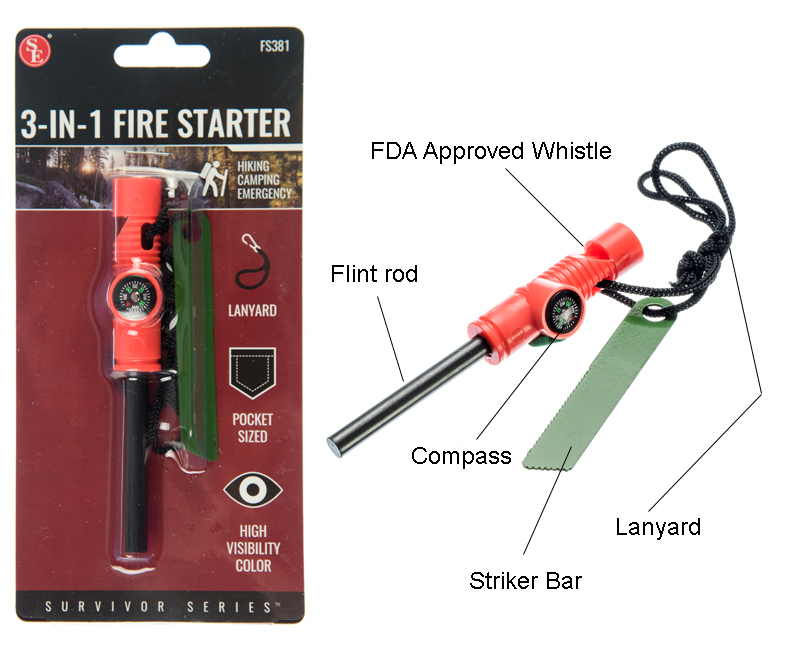 3-IN-1 Flint Fire Starter Compass Whistle